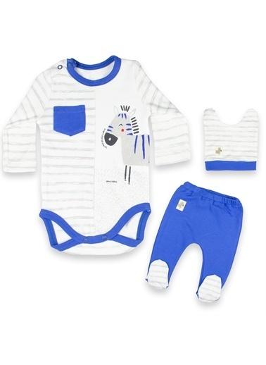 Vip Bebe Vipbebe Erkek Bebek Çizgi ve Zebra Desenli Çıtçıtlı Uzun Kol Mevsimlik Badi, şapka ve Pantolon Takım Mavi